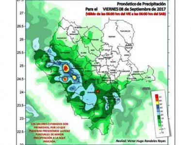 Continúan pronósticos de fuertes lluvias para el centro, sur y zona sierra del estado