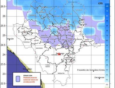 Podría nevar esta tarde – noche en municipios del norte y centro de Durango