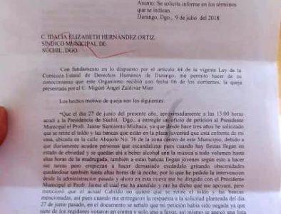 Ignoran ediles de Súchil oficio de la Comisión Estatal de Derechos Humanos