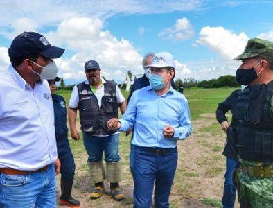 Gobernador recorre municipios con riesgo de inundación por lluvias