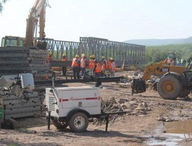 Avanza instalación de puente provisional San Antonio en Rodeo
