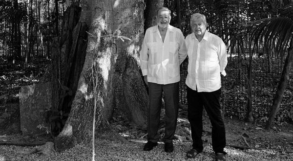AMLO y Slim se reúnen en Palenque para evaluar avance del Tren Maya